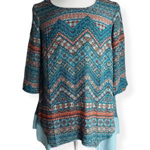 One World Teal Abstract Tunic Top Size M